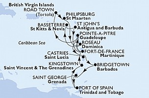 MSC Preziosa - Pointe-a-Pitre,Castries,Bridgetown,Saint George,Port of Španělsko,Kingstown,Fort de Francie, ... (Pointe-a-Pitre)